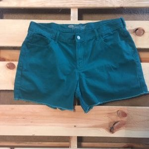 Old Navy Sweetheart teal green jean shorts 16